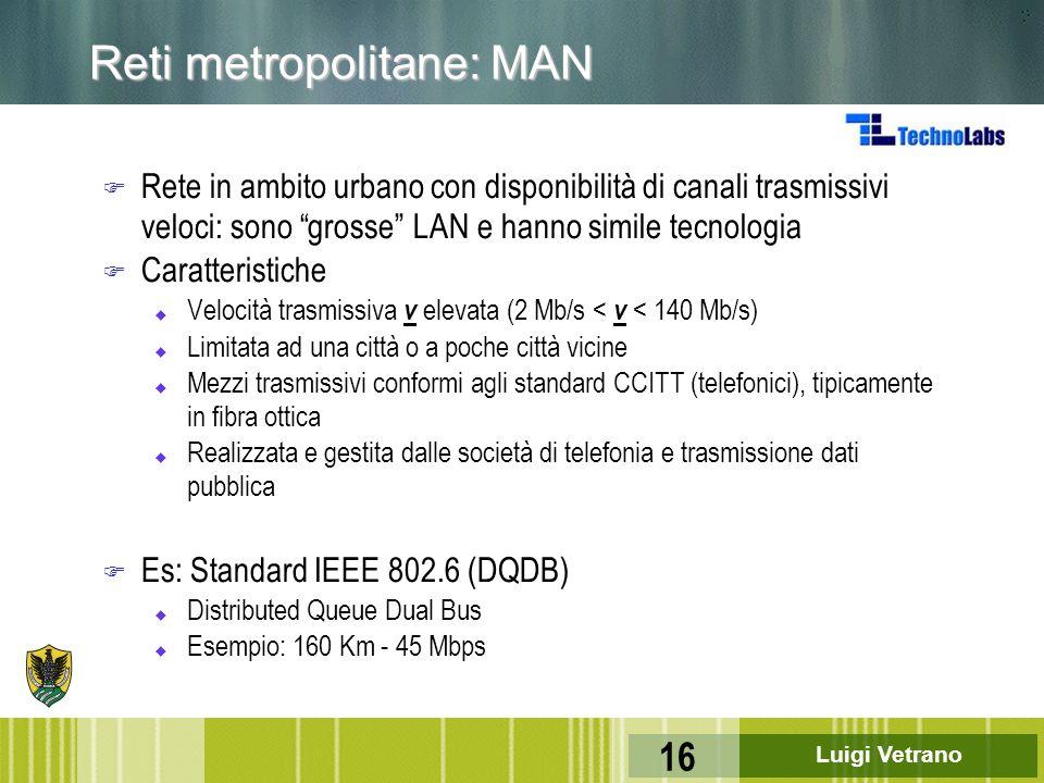 """Luigi Vetrano 16 Reti metropolitane: MAN F Rete in ambito urbano con disponibilità di canali trasmissivi veloci: sono """"grosse"""" LAN e hanno simile tecn"""