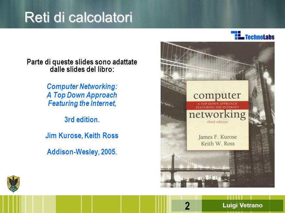 Luigi Vetrano 83 Applicazione Presentazione Sessione Trasporto Rete Data Link Fisico 6 5 4 3 2 1 u ISO: International Standard Organization u OSI: Open Systems Interconnection 7 ISO: il modello di riferimento OSI