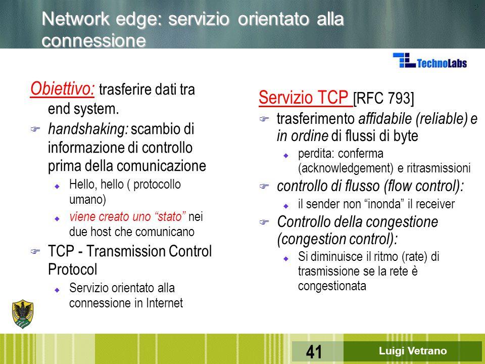 Luigi Vetrano 41 Network edge: servizio orientato alla connessione Obiettivo: trasferire dati tra end system. F handshaking: scambio di informazione d