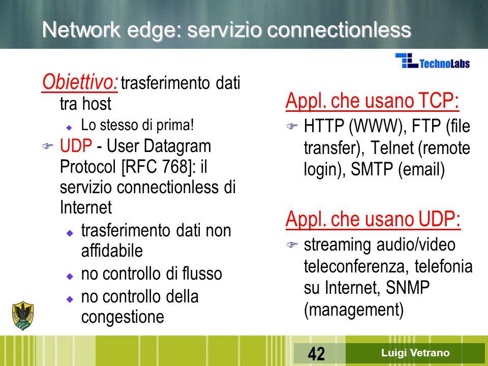 Luigi Vetrano 42 Network edge: servizio connectionless Obiettivo: trasferimento dati tra host u Lo stesso di prima! F UDP - User Datagram Protocol [RF