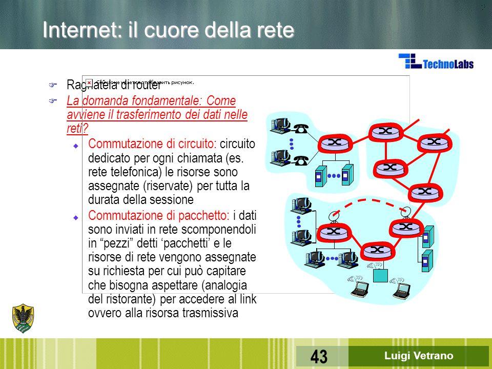 Luigi Vetrano 43 Internet: il cuore della rete F Ragnatela di router F La domanda fondamentale: Come avviene il trasferimento dei dati nelle reti? u C