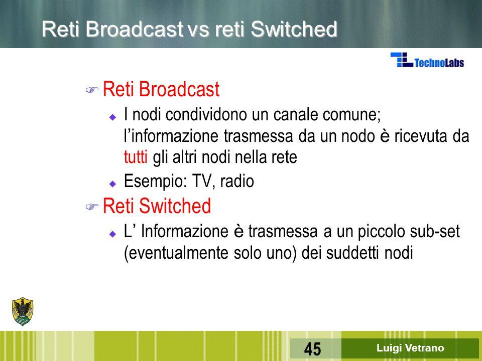Luigi Vetrano 45 Reti Broadcast vs reti Switched F Reti Broadcast  I nodi condividono un canale comune; l ' informazione trasmessa da un nodo è ricev