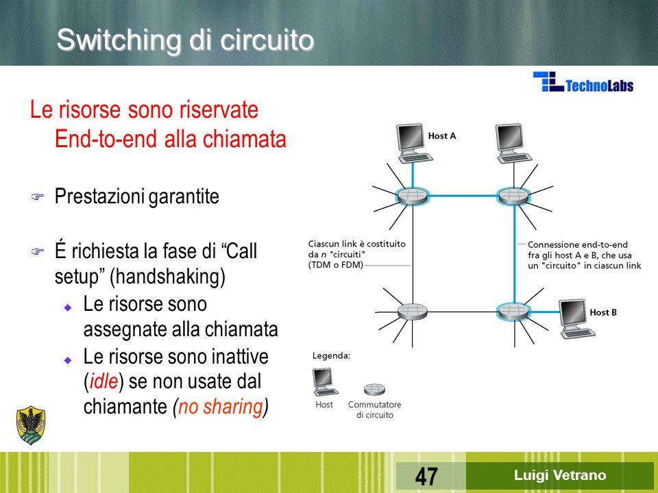 """Luigi Vetrano 47 Le risorse sono riservate End-to-end alla chiamata F Prestazioni garantite F É richiesta la fase di """"Call setup"""" (handshaking) u Le r"""