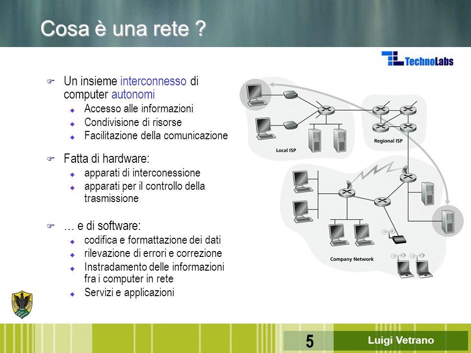 Luigi Vetrano 5 Cosa è una rete ? F Un insieme interconnesso di computer autonomi u Accesso alle informazioni u Condivisione di risorse u Facilitazion