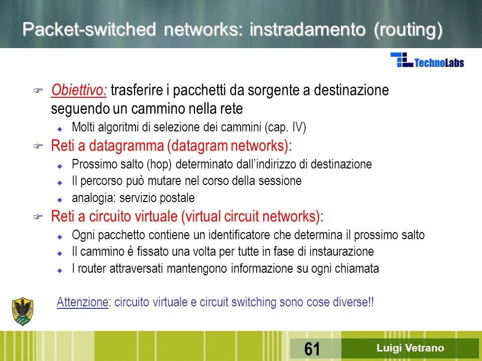 Luigi Vetrano 61 Packet-switched networks: instradamento (routing) F Obiettivo: trasferire i pacchetti da sorgente a destinazione seguendo un cammino