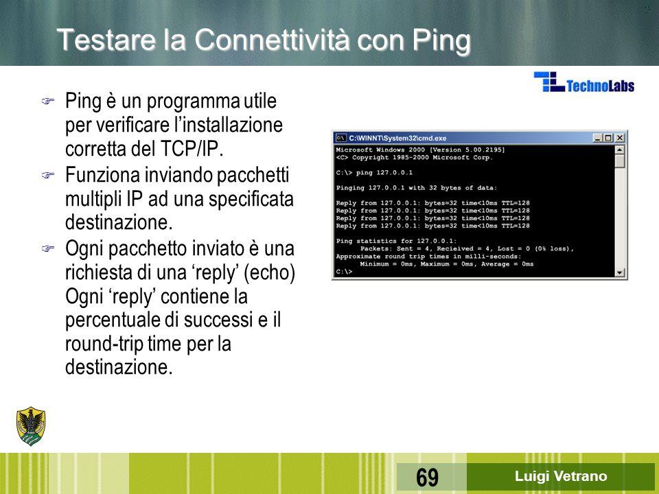 Luigi Vetrano 69 Testare la Connettività con Ping F Ping è un programma utile per verificare l'installazione corretta del TCP/IP. F Funziona inviando