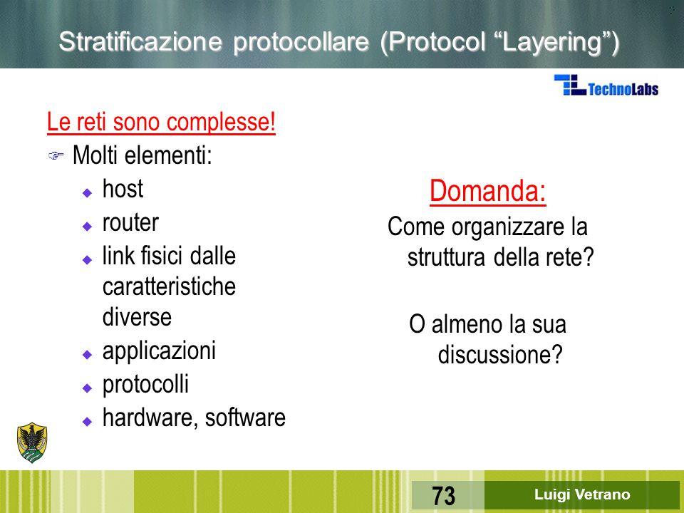 """Luigi Vetrano 73 Stratificazione protocollare (Protocol """"Layering"""") Le reti sono complesse! F Molti elementi: u host u router u link fisici dalle cara"""