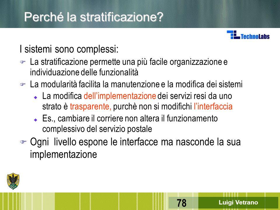 Luigi Vetrano 78 Perché la stratificazione? I sistemi sono complessi: F La stratificazione permette una più facile organizzazione e individuazione del