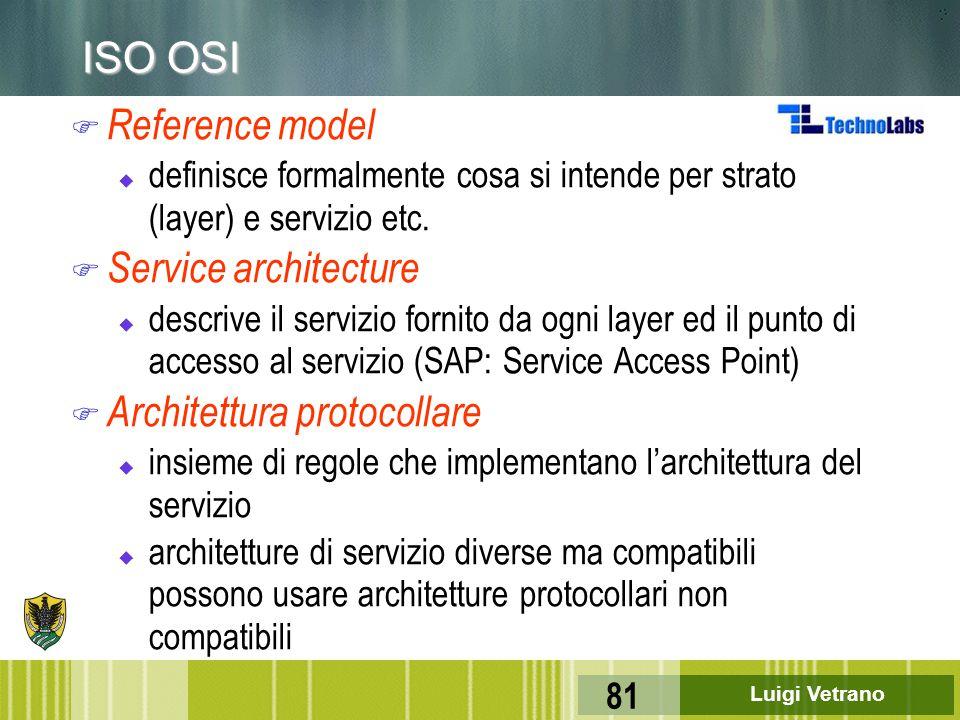 Luigi Vetrano 81 ISO OSI F Reference model u definisce formalmente cosa si intende per strato (layer) e servizio etc. F Service architecture u descriv