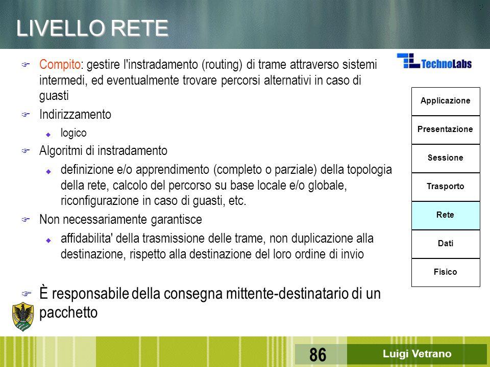 Luigi Vetrano 86 LIVELLO RETE F Compito: gestire l'instradamento (routing) di trame attraverso sistemi intermedi, ed eventualmente trovare percorsi al