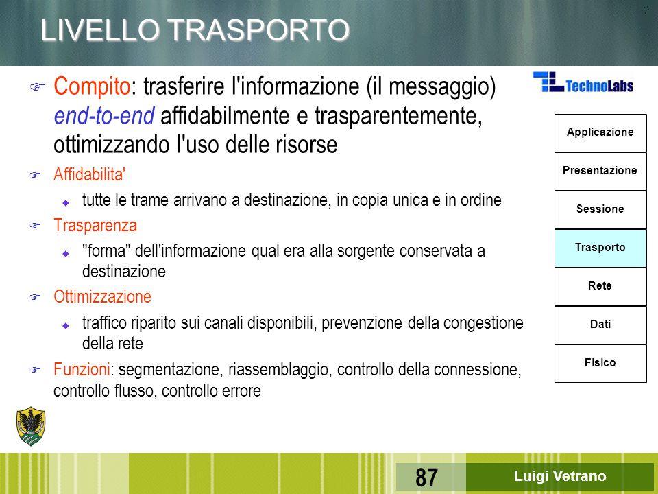 Luigi Vetrano 87 LIVELLO TRASPORTO Applicazione Presentazione Sessione Trasporto Rete Dati Fisico F Compito: trasferire l'informazione (il messaggio)