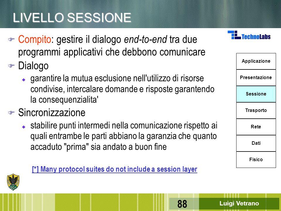 Luigi Vetrano 88 LIVELLO SESSIONE F Compito: gestire il dialogo end-to-end tra due programmi applicativi che debbono comunicare F Dialogo u garantire