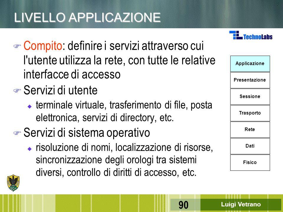 Luigi Vetrano 90 LIVELLO APPLICAZIONE F Compito: definire i servizi attraverso cui l'utente utilizza la rete, con tutte le relative interfacce di acce