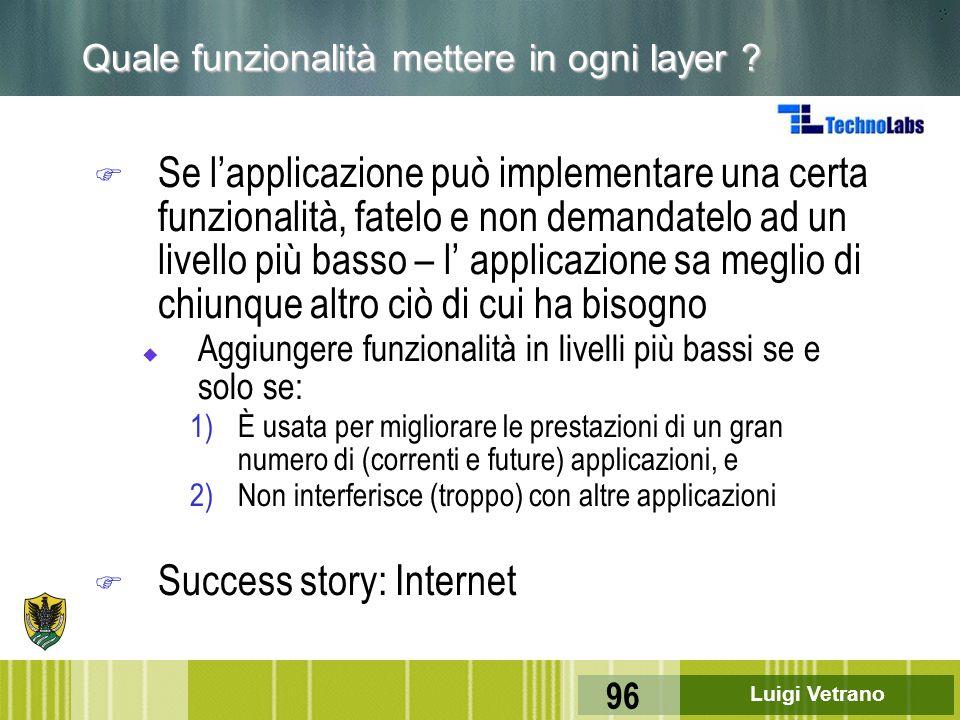 Luigi Vetrano 96 Quale funzionalità mettere in ogni layer ? F Se l'applicazione può implementare una certa funzionalità, fatelo e non demandatelo ad u