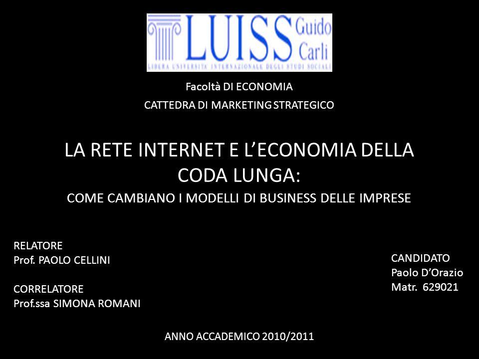 LA RETE INTERNET E L'ECONOMIA DELLA CODA LUNGA: COME CAMBIANO I MODELLI DI BUSINESS DELLE IMPRESE CANDIDATO Paolo D'Orazio Matr.