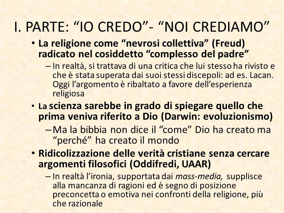 """I. PARTE: """"IO CREDO""""- """"NOI CREDIAMO"""" La religione come """"nevrosi collettiva"""" (Freud) radicato nel cosiddetto """"complesso del padre"""" – In realtà, si trat"""