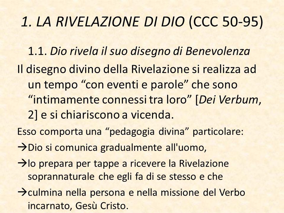 """1. LA RIVELAZIONE DI DIO (CCC 50-95) 1.1. Dio rivela il suo disegno di Benevolenza Il disegno divino della Rivelazione si realizza ad un tempo """"con ev"""