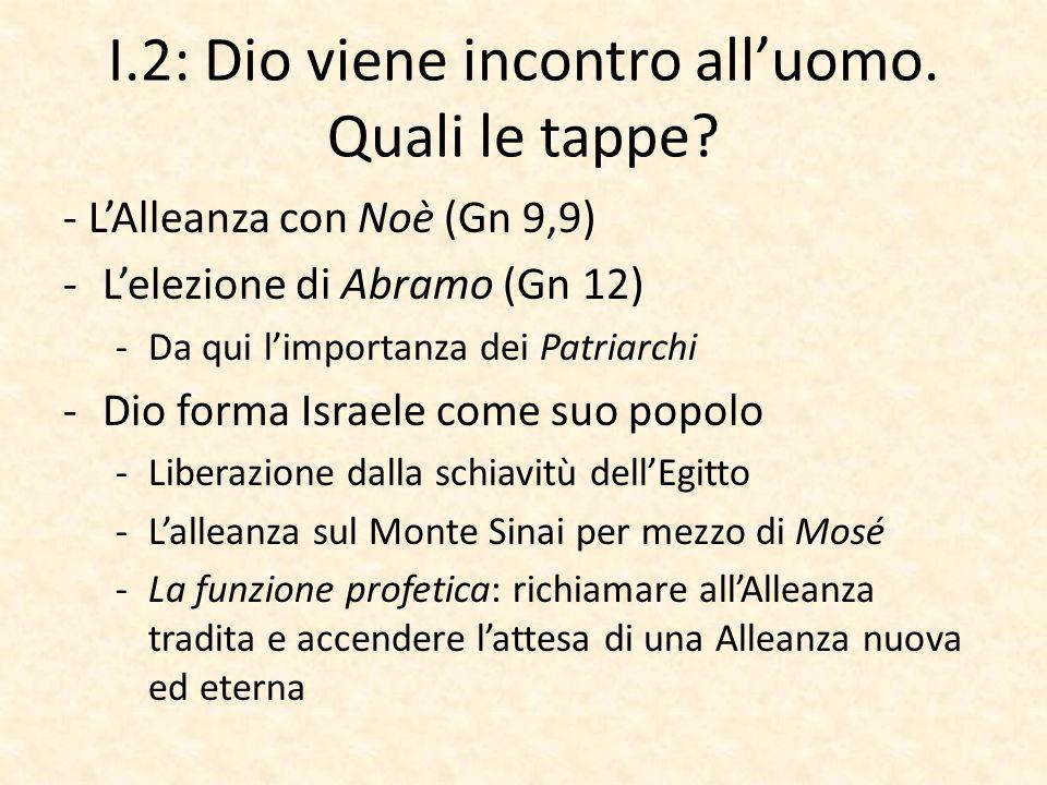 I.2: Dio viene incontro all'uomo. Quali le tappe? - L'Alleanza con Noè (Gn 9,9) -L'elezione di Abramo (Gn 12) -Da qui l'importanza dei Patriarchi -Dio