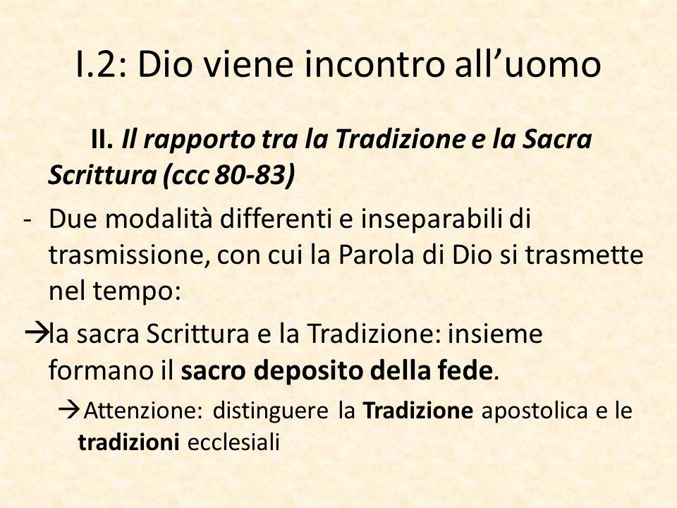 I.2: Dio viene incontro all'uomo II. Il rapporto tra la Tradizione e la Sacra Scrittura (ccc 80-83) -Due modalità differenti e inseparabili di trasmis