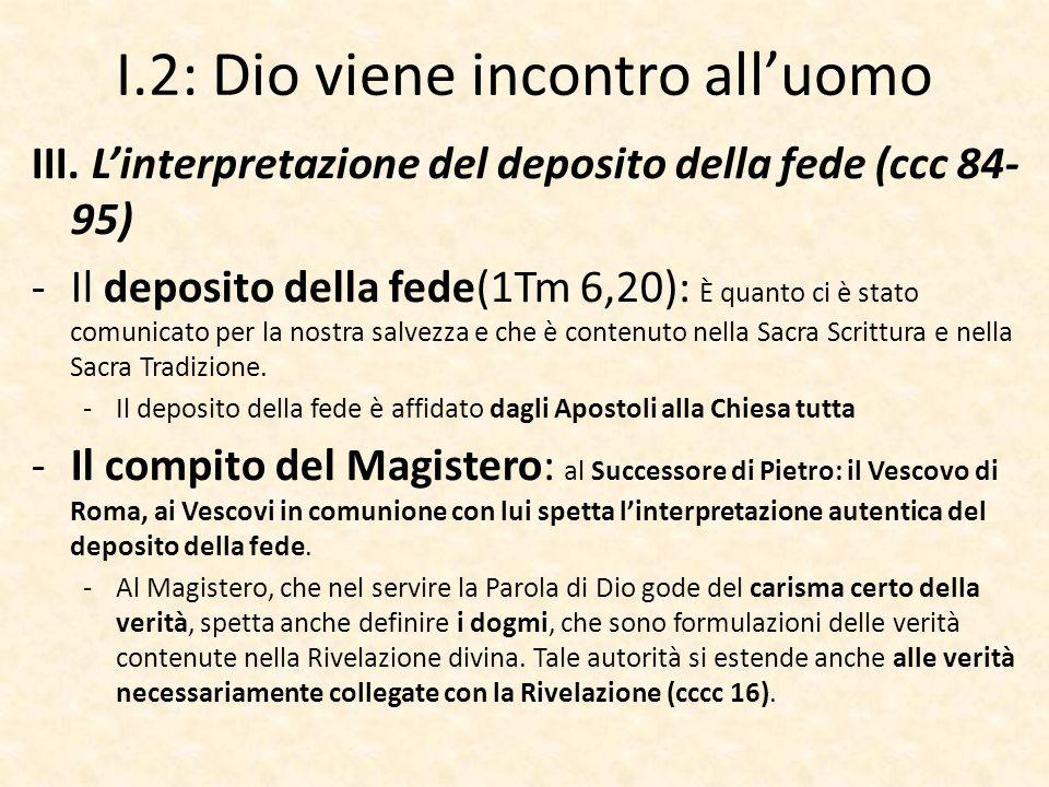 I.2: Dio viene incontro all'uomo III. L'interpretazione del deposito della fede (ccc 84- 95) -Il deposito della fede(1Tm 6,20): È quanto ci è stato co