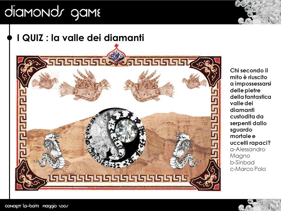 I QUIZ : la valle dei diamanti Chi secondo il mito è riuscito a impossessarsi delle pietre della fantastica valle dei diamanti custodita da serpenti d
