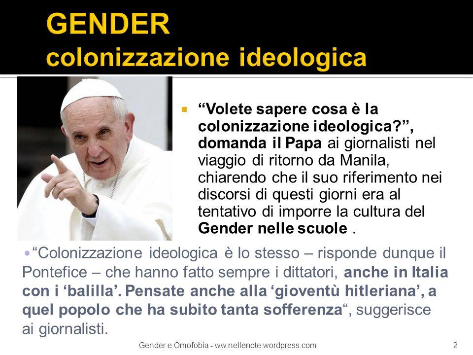 """ """"Volete sapere cosa è la colonizzazione ideologica?"""", domanda il Papa ai giornalisti nel viaggio di ritorno da Manila, chiarendo che il suo riferime"""