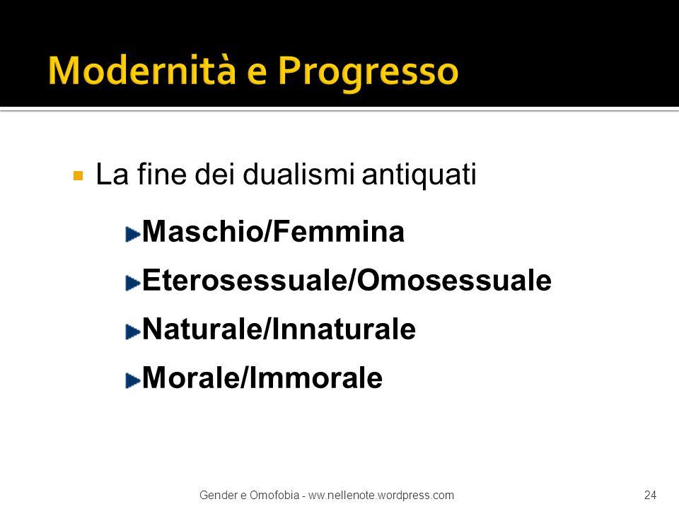  La fine dei dualismi antiquati Maschio/Femmina Eterosessuale/Omosessuale Naturale/Innaturale Morale/Immorale Gender e Omofobia - ww.nellenote.wordpr