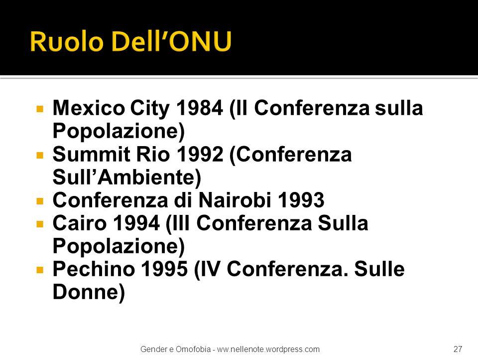  Mexico City 1984 (II Conferenza sulla Popolazione)  Summit Rio 1992 (Conferenza Sull'Ambiente)  Conferenza di Nairobi 1993  Cairo 1994 (III Confe