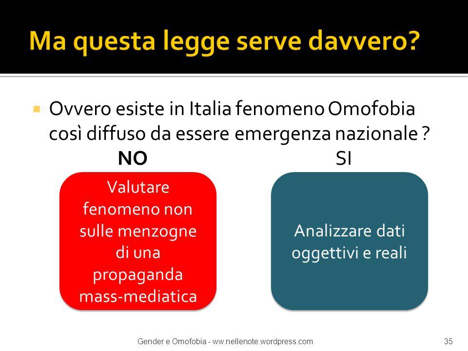  Ovvero esiste in Italia fenomeno Omofobia così diffuso da essere emergenza nazionale ? NO SI Valutare fenomeno non sulle menzogne di una propaganda