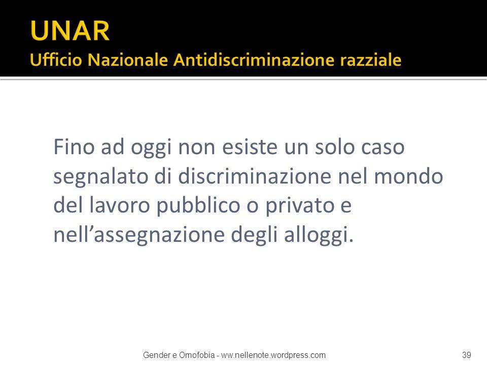 Fino ad oggi non esiste un solo caso segnalato di discriminazione nel mondo del lavoro pubblico o privato e nell'assegnazione degli alloggi. Gender e