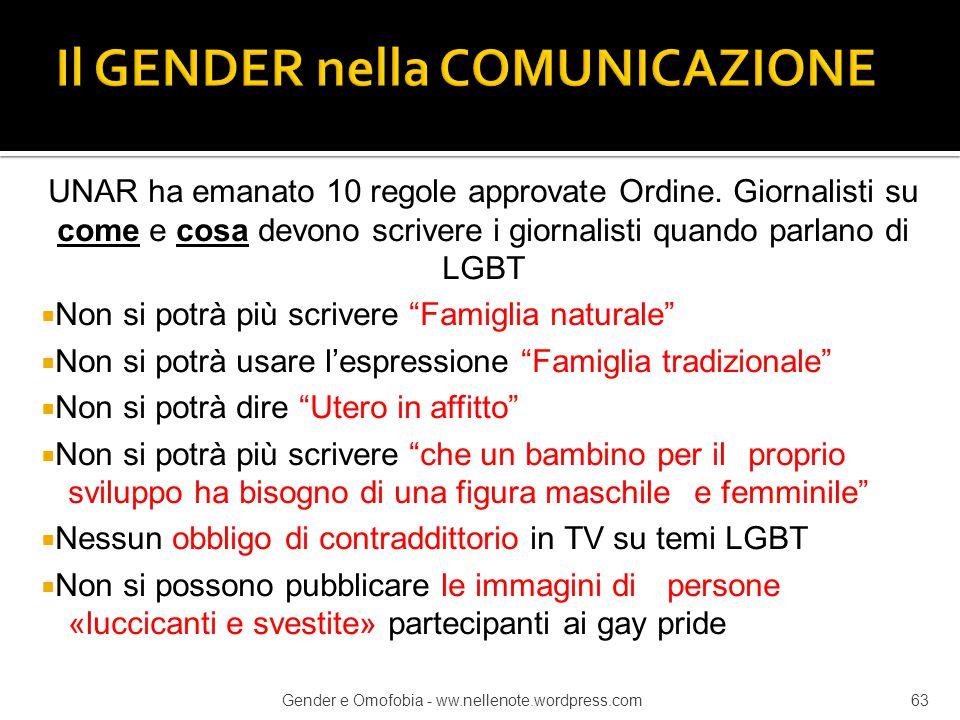 UNAR ha emanato 10 regole approvate Ordine. Giornalisti su come e cosa devono scrivere i giornalisti quando parlano di LGBT  Non si potrà più scriver