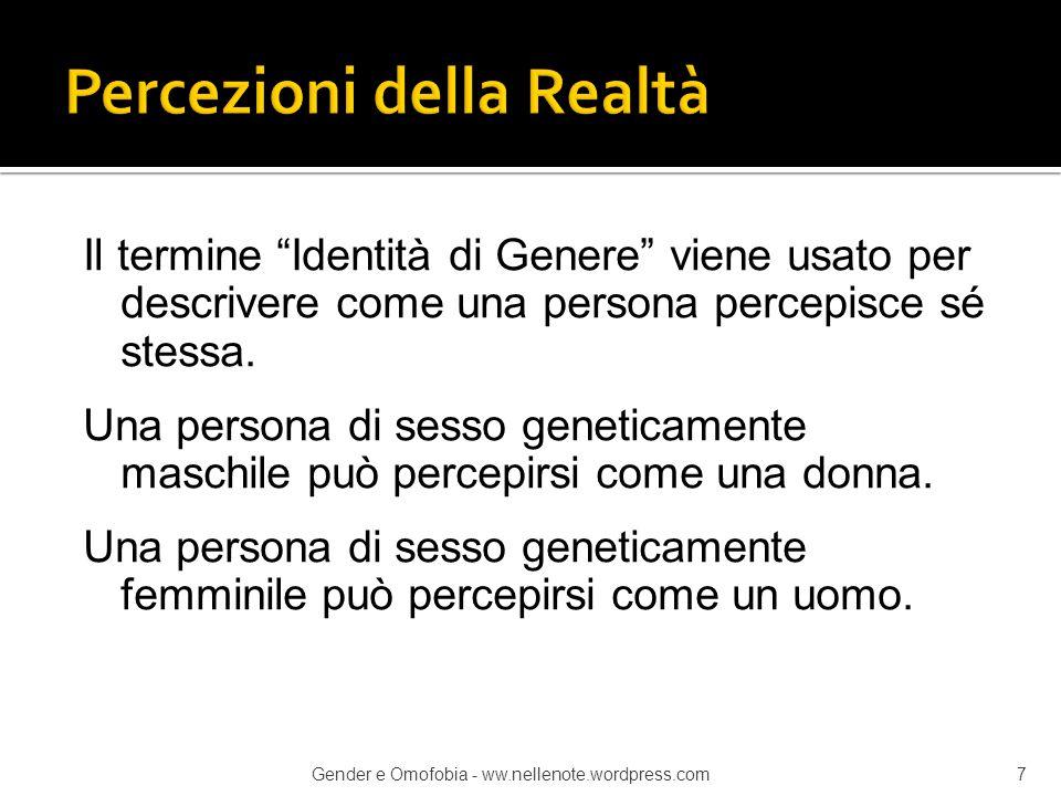 """Il termine """"Identità di Genere"""" viene usato per descrivere come una persona percepisce sé stessa. Una persona di sesso geneticamente maschile può perc"""