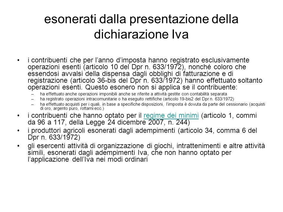 esonerati dalla presentazione della dichiarazione Iva i contribuenti che per l'anno d'imposta hanno registrato esclusivamente operazioni esenti (articolo 10 del Dpr n.