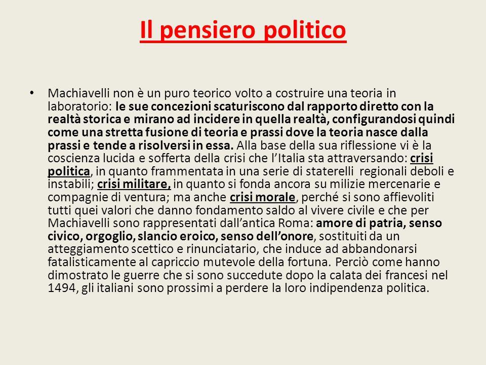 Il pensiero politico Machiavelli non è un puro teorico volto a costruire una teoria in laboratorio: le sue concezioni scaturiscono dal rapporto dirett