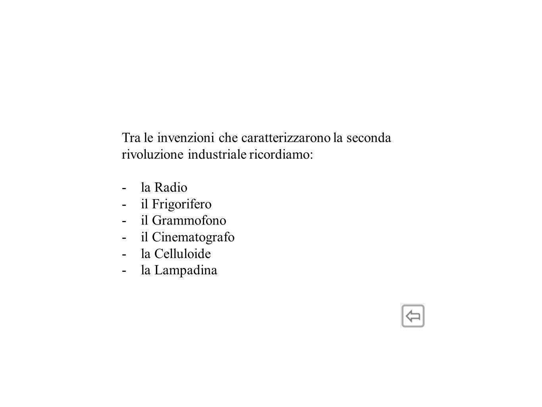 Tra le invenzioni che caratterizzarono la seconda rivoluzione industriale ricordiamo: -la Radio -il Frigorifero -il Grammofono -il Cinematografo -la Celluloide -la Lampadina