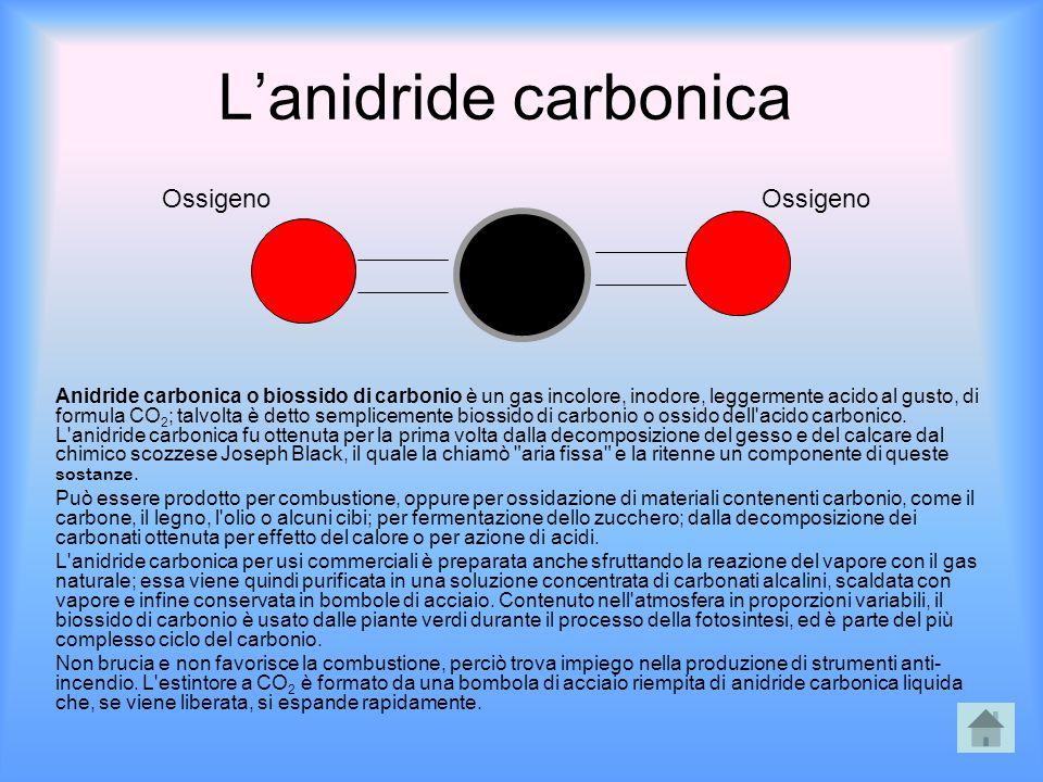 L'anidride carbonica Anidride carbonica o biossido di carbonio è un gas incolore, inodore, leggermente acido al gusto, di formula CO 2 ; talvolta è de