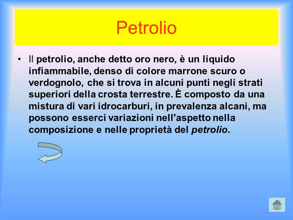 Petrolio Il petrolio, anche detto oro nero, è un liquido infiammabile, denso di colore marrone scuro o verdognolo, che si trova in alcuni punti negli