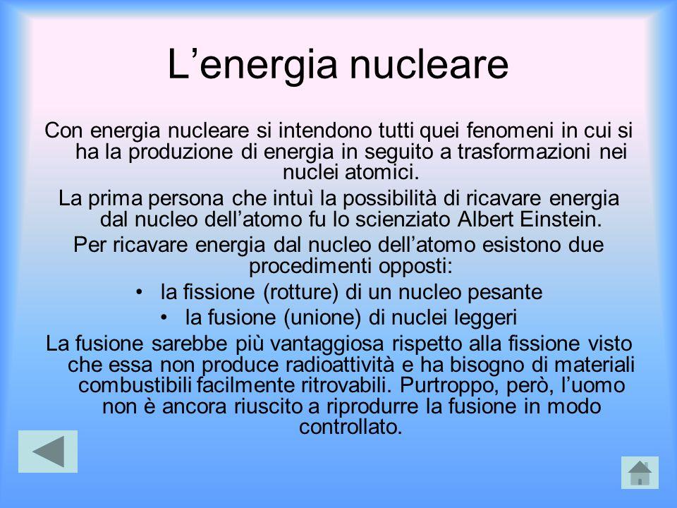 L'energia nucleare Con energia nucleare si intendono tutti quei fenomeni in cui si ha la produzione di energia in seguito a trasformazioni nei nuclei