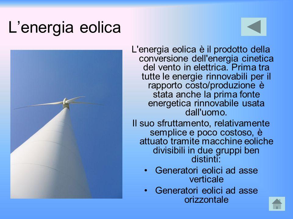 L'energia eolica L'energia eolica è il prodotto della conversione dell'energia cinetica del vento in elettrica. Prima tra tutte le energie rinnovabili