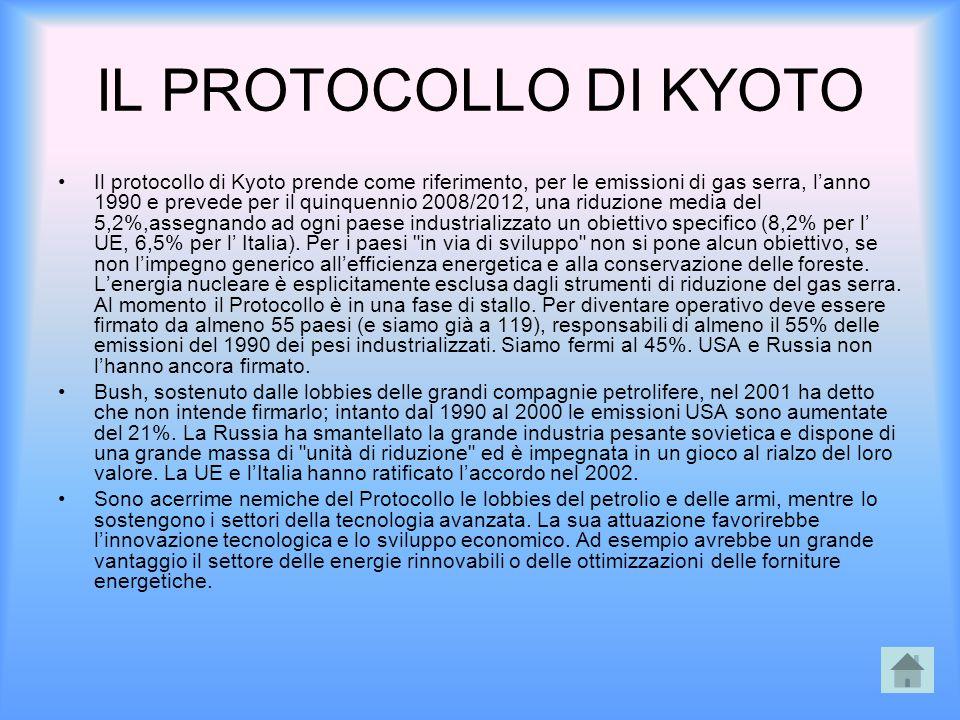 IL PROTOCOLLO DI KYOTO Il protocollo di Kyoto prende come riferimento, per le emissioni di gas serra, l'anno 1990 e prevede per il quinquennio 2008/20