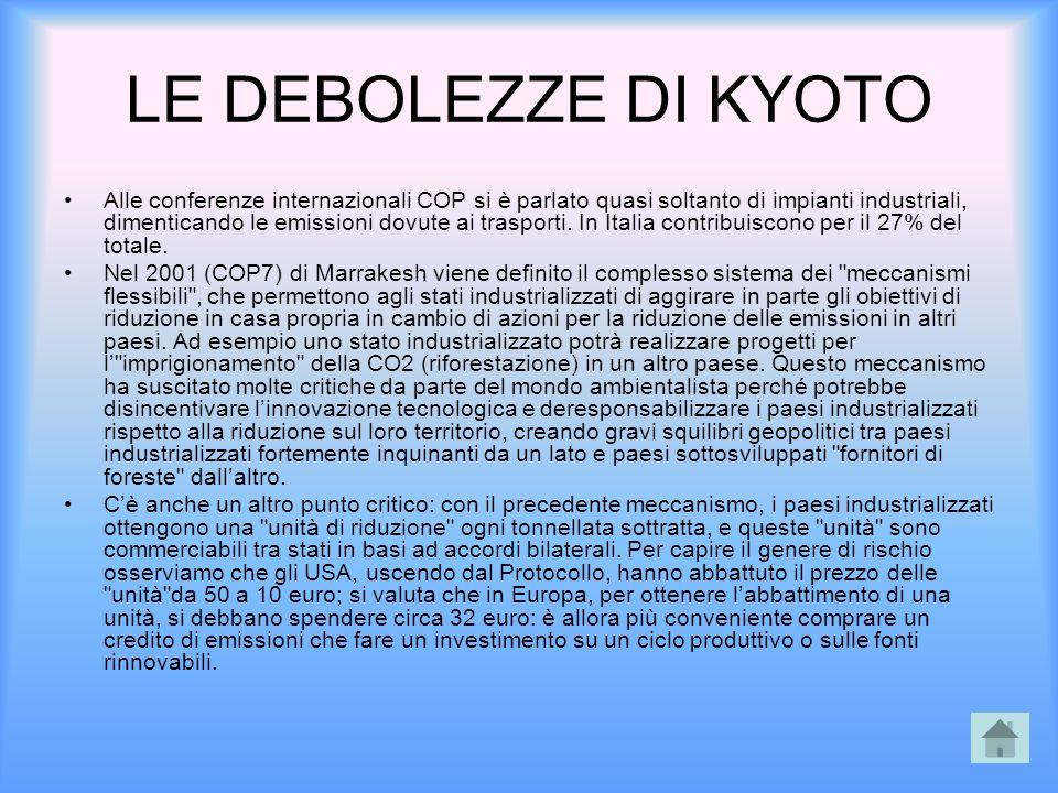 LE DEBOLEZZE DI KYOTO Alle conferenze internazionali COP si è parlato quasi soltanto di impianti industriali, dimenticando le emissioni dovute ai tras