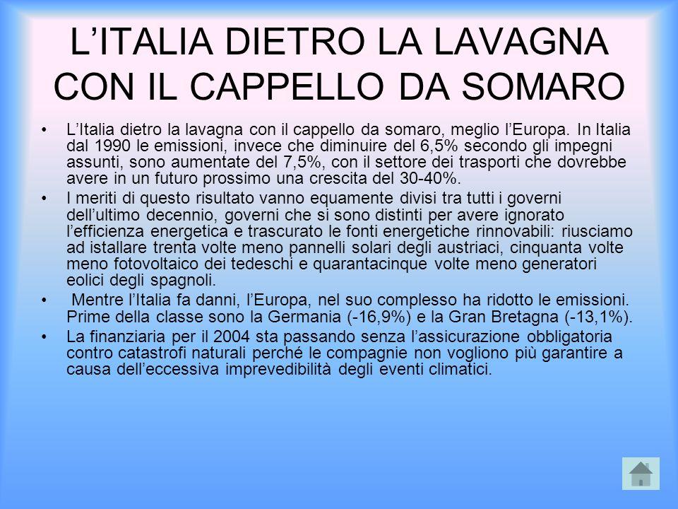 L'ITALIA DIETRO LA LAVAGNA CON IL CAPPELLO DA SOMARO L'Italia dietro la lavagna con il cappello da somaro, meglio l'Europa. In Italia dal 1990 le emis