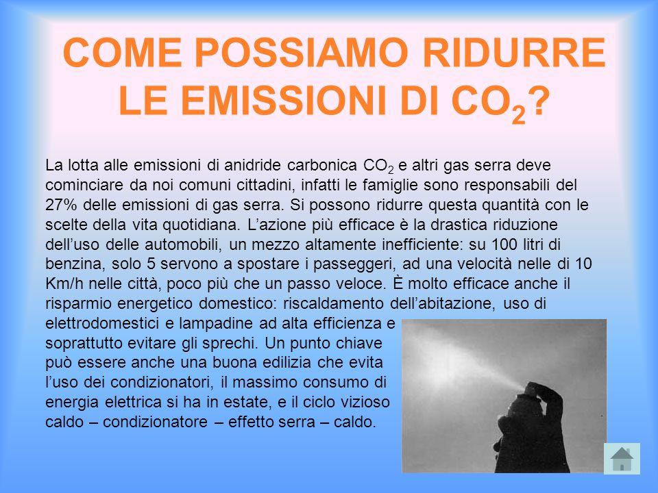 COME POSSIAMO RIDURRE LE EMISSIONI DI CO 2 ? La lotta alle emissioni di anidride carbonica CO 2 e altri gas serra deve cominciare da noi comuni cittad