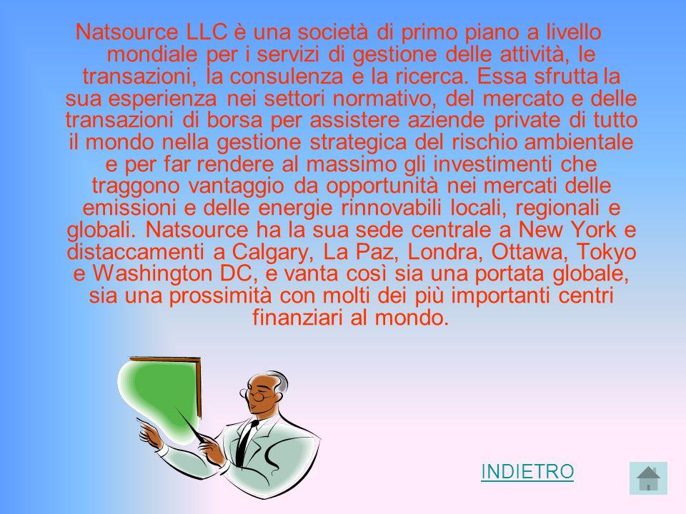 INDIETRO Natsource LLC è una società di primo piano a livello mondiale per i servizi di gestione delle attività, le transazioni, la consulenza e la ri