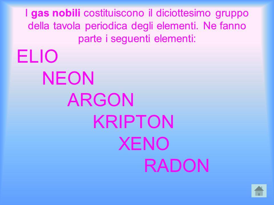 I gas nobili costituiscono il diciottesimo gruppo della tavola periodica degli elementi. Ne fanno parte i seguenti elementi: ELIO NEON ARGON KRIPTON X