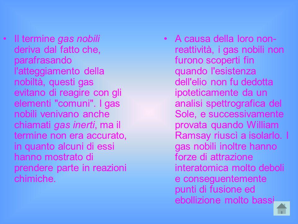 Il termine gas nobili deriva dal fatto che, parafrasando l'atteggiamento della nobiltà, questi gas evitano di reagire con gli elementi