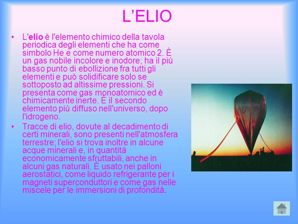 L'ELIO L'elio è l'elemento chimico della tavola periodica degli elementi che ha come simbolo He e come numero atomico 2. È un gas nobile incolore e in
