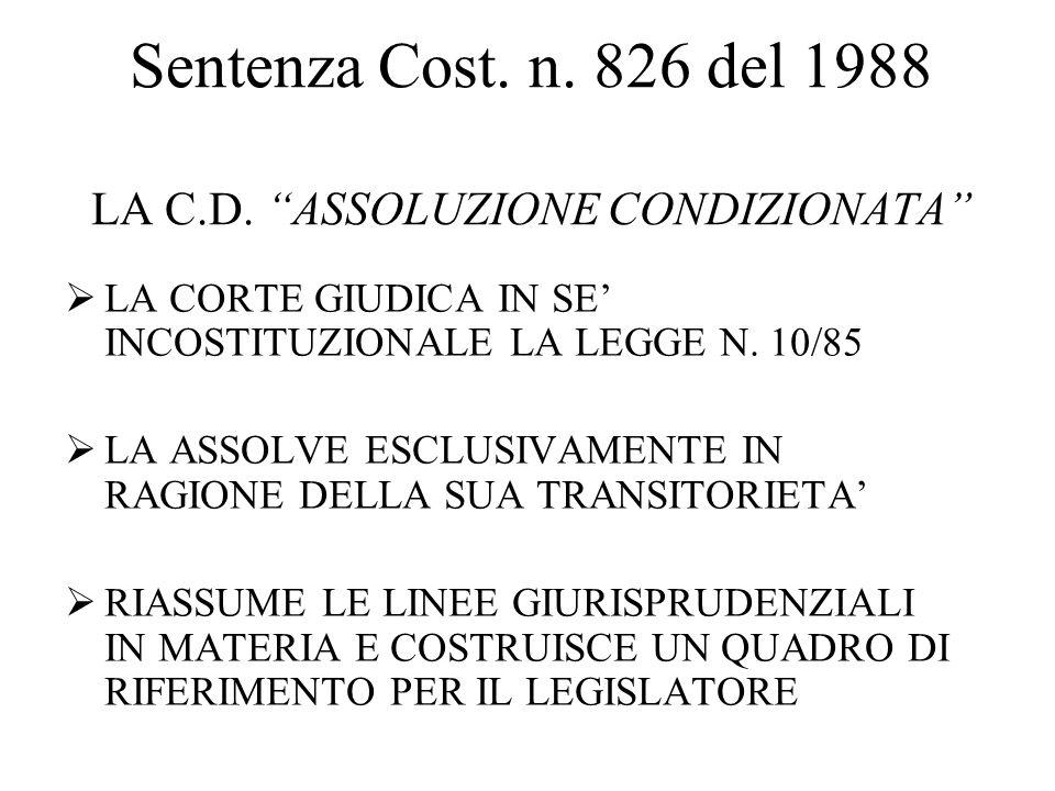 Sentenza Cost. n. 826 del 1988 LA C.D.
