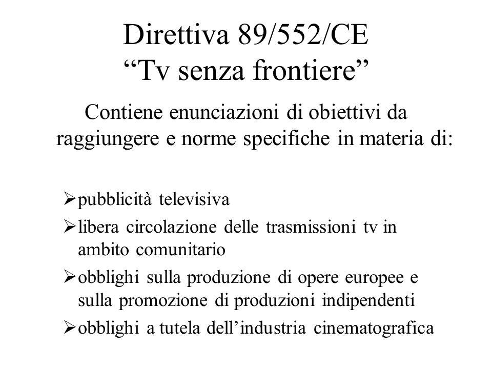 Direttiva 89/552/CE Tv senza frontiere Contiene enunciazioni di obiettivi da raggiungere e norme specifiche in materia di:  pubblicità televisiva  libera circolazione delle trasmissioni tv in ambito comunitario  obblighi sulla produzione di opere europee e sulla promozione di produzioni indipendenti  obblighi a tutela dell'industria cinematografica