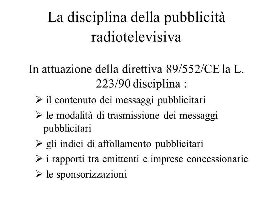 La disciplina della pubblicità radiotelevisiva In attuazione della direttiva 89/552/CE la L.